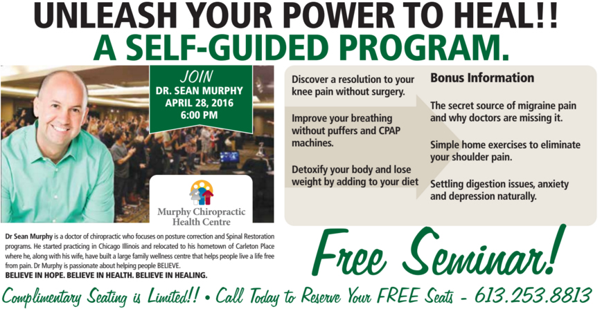 FREE SEMINAR: Unleash your Power to Heal – A Self-guided Program…